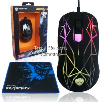 Rexus GT3 Gaming Mouse 4D USB with Rainbow LED + Mousepad Gaming - Hitam