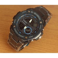 Jam Tangan Pria Casio G-Shock GST210 Chain Black Blue Super Premium