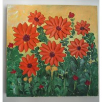 SEVEN RED DAISY FLOWERS - OIL ON CANVAS PAINTING