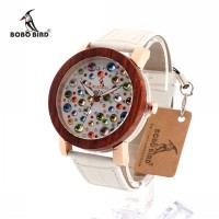 BOBO BIRD J04 Women Design Rhinestone Watches Austrian Crystal Ceramic Leather
