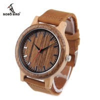 BOBO BIRD M14 Jam Tangan Kayu Pria Wooden Watch Real Leather Strap