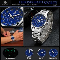Jam Tangan Pria Wwoor 8815 Silver Blue Sporty Chronograph (Date, Days, 24 Hours  Luminous)