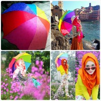 Payung Pelangi 3D Magic umbrella rainbow 3 Dimensi From Korea Keluar Motif Bila Terkena Air