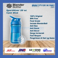 Shaker Blender Bottle Sportmixer 20 oz Cyan  Blue - air botol blenderbottle gym fitness minum mixer olahraga ori original sport shake tumbler