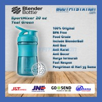 Shaker Blender Bottle Sportmixer 20 oz Teal Blue - air botol blenderbottle gym fitness minum mixer olahraga ori original sport shake tumbler