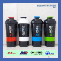 Shaker Spider Bottle 600 ml Green - 3in1 air botol bpa fitnes fitness good free grade gym minum shake smart smartshaker susu suplemen