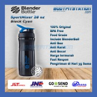 Shaker Blender Bottle Sportmixer 28 oz Black Blue - air botol blenderbottle gym fitness minum mixer olahraga ori original sport shake tumbler