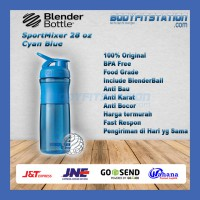 Shaker Blender Bottle Sportmixer 28 oz Cyan Blue - air botol blenderbottle gym fitness minum mixer olahraga ori original sport shake tumbler