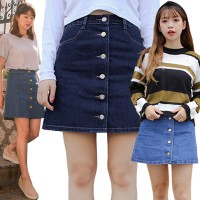 [FLAT PRICE] KOREAN STYLE ★ Denim Skirt Collection/Rok jeans Pendek/Rok kancing/Rok Import/Rok Kerja/ Rok mini/Rok Denim