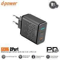dpower GC06 Wall Charger 2 port QC 3.0 & PD 3.0 Fast Charging