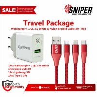 Travel Package WallCharger+1 Port QC 3.0 White & Nylon Braided 3Ft Red