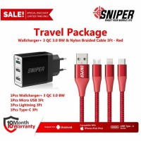 Travel Package WallCharger+ 3 Port QC 3.0 BW & Nylon Braided 3Ft Red