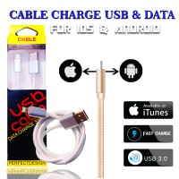 [PREMIUM QUALITY] NEW 2in1 Built-in Data & FAST-Charge Cable Android & Iphone 100cm