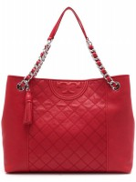 Tory Burch Fleming Distressed Tote Cherry Apple - (DB597 Cherry Apple)