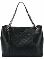 Tory Burch Fleming Distressed Tote Black - (DB579 Hitam)