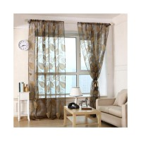 [FREE ONGKIR] 1 PC Leaf Tulle Door Window Curtain Drape Panel Sheer Scarf Valances