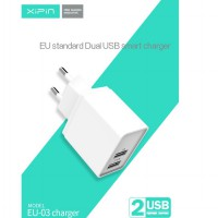 XIPIN BU03 2.4A 2 USB Charger 5V 2.1A EU Plug USB Adapter Charger For IPhone 5 6 7 IPad Tablet