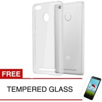 Case for Xiaomi Redmi 3 Pro - Clear + Gratis Tempered Glass - Ultra Thin Soft Case