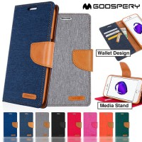 Iphone X Flip Cover Case Canvas Godspery Mercury Dompet Buku Buka Tutup CASING