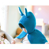 Hat Shawl Rabbit Blue
