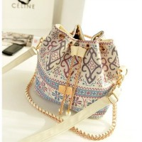 KGS Tas Casual Wanita Ethnic Floral Bucket Shoulder Bag