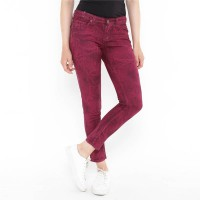 Mobile Power Ladies Slim Fit Jeans Motif - Red Maroon C2859S