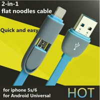 Kabel Micro USB 2 in 1 Data Charger Cable Android iPhone ipad ios 8