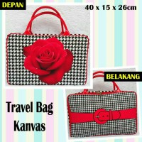 TRAVELBAGMURAH - Tas Travel Bag Kanvas Rose Houndstooth