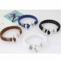 RGB1014W - Gelang Anchor Braid Leather