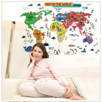 Wall Sticker SK9032 World Map Colourful - Stiker dinding Untuk Dekorasi Kamar Anak - Sticker Dinding Murah Penghias Dinding Rumah Wallpaper Dinding Lucu - Warna Random