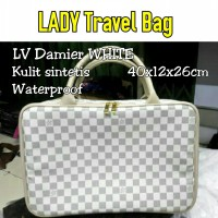 TRAVELBAGMURAH - Tas LADY Travel Bag Damier White