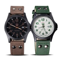 Vintage Classic Men's Waterproof Date Leather Strap Sport Quartz Army Watch GRATIS ONGKOS KIRIM
