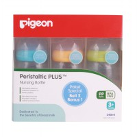 BUY 2 GET 1 FREE - Pigeon Botol PP Wide Neck 240 Ml W/ P-Plus 'Nipple'
