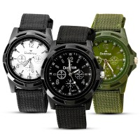 Men's Fashion Sport Braided Canvas Belt Watch Analog Wrist Watch GRATIS ONGKOS KIRIM