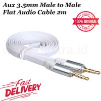 Aux 3.5mm Male to Male Flat Audio Cable 2m