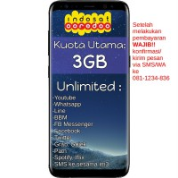 Indosat Ooredoo Paket Data Internet Kuota Reguler 3GB + Unlimited Apps + Unlimited SMS