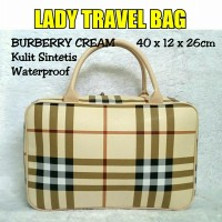 TRAVELBAGMURAH - Tas LADY Travel Bag Burberr* Cream