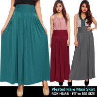 Pleated Flare Maxi Skirt - Rok Hijab - Fit to Big Size