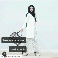 TRAVELBAGMURAH - Tas LADY Travel Bag Monochrome zigzag