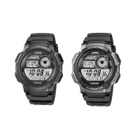 Jam Tangan Digital CASIO AE-1000W/Full Black/Lis Silver