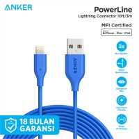 Anker PowerLine Lightning MFi Certified Cable 10ft - Blue [A8113031]