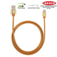INNOVO Leather Kabel Charger Data Lightning Fast Charging 3.3A - DC095