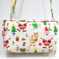 Sling Bag Christmas Bank Book Organizer Bahan Katun Tas Fashion Trendy
