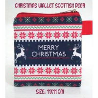 Christmas Wallet Scottish Deer Dompet Koin Suvenir Natal Bonus C8