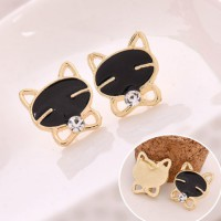 Gold Black Cat Diamond Stud Earrings Anting Kucing Hitam  YX0E23 SJ0059