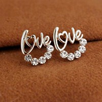 Silver Love Diamond Korean Fashion Stud Earrings   YX00E3SR SJ0059