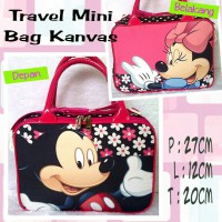 TRAVELBAGMURAH - Tas Travel Mini Kanvas Mickey Flower