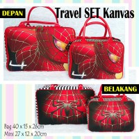 TRAVELBAGMURAH - Tas Travel Set Kanvas Spiderman