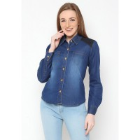 Mobile Power ladies Long Sleeve Shirt Denim Combination - Blue A8209