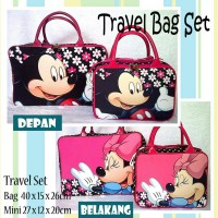 TRAVELBAGMURAH - Tas Travel Set Kanvas Mickey Flower